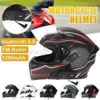 Motorcycle Helmet Flip Up Modular Motobike bluetooth Helmet 1200 mAh Battery