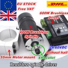 【UK】400W Brushless Spindle Motor ER8 60VDC+ 600W NVBDL Driver+55mm Clamp CNC Kit