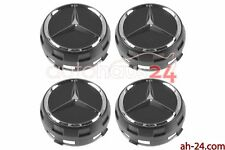 MERCEDES 0004000900 RAISED BLACK CENTER CAP W/ CHROME STAR OEM 4 SET GENUINE