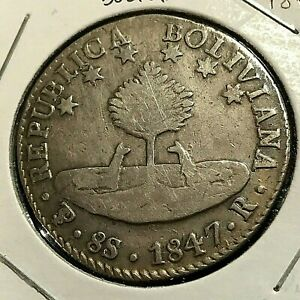 1847 BOLIVIA SILVER 8 SOLES CROWN BETTER DATE OF SERIES