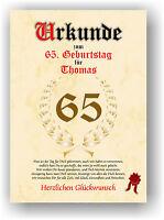 Urkunde zum 65. GEBURTSTAG Geschenkidee Geburtstagsurkunde Namensdruck Partydeko