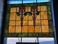 "Vintage Prairie School Style Salvaged Stained Glass Window 24"" x 32"""
