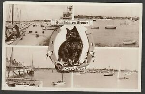 Postcard Burnham on Crouch nr Southend on Sea Essex multiview Lucky Black Cat RP