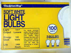 Quantity of 3 Infinity Soft White 100 Watts Incandescent Light Bulbs #7gh