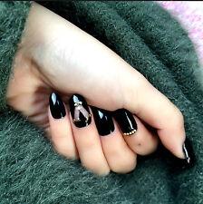 24pcs Golden Pearl Black False Nails Cross Geometry Harajuku Style