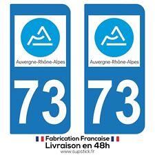 2 STICKERS AUTOCOLLANT PLAQUE IMMATRICULATION DEPT 73 Auvergne-Rhône-Alpes