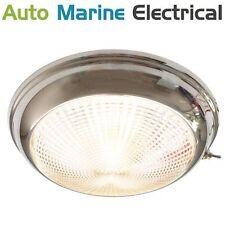 STAINLESS STEEL LED DOME CABIN LIGHT 12/24V 132MM BOAT/CARAVAN