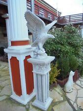 Gartenfigur, Adlerfigur & Säule, Skulpturen, H.141 cm Steinguss Vögel Gartendeko