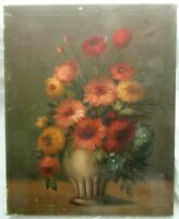 "Big 30"" Antique Orig Oil Painting Folk Art Still Life Floral Country Primitive"