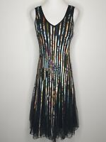 Chase7 Black Stripe Net Sleeveless Bodycon Flare Cocktail Party Dress / Size 10