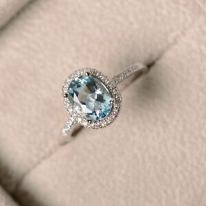2.30 Carat Aquamarine Anniversary Wedding Ring 14K White Gold Diamond Size M N P