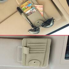 Universal Credit Card Pen Glasses Holder Organizer For Vehicle Sun Visor Beige