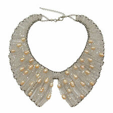 Vintage Sparkly White Peter Pan Collar Necklace Jewelry Bead Cocktail Tea Party