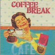 2 Serviettes en papier Pause Café Decoupage Paper Napkins Coffee Break