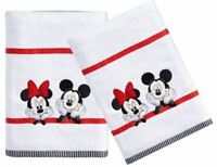 DISNEY MICKEY & MINNIE MOUSE Set of 2 Home Bath Towels NEW Tags Character Decor