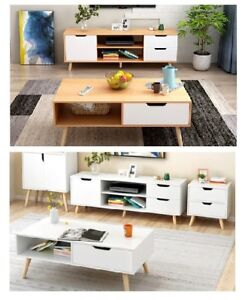 120cm TV Stand Entertainment Unit Cabinet Storage Drawers and Coffee Tables