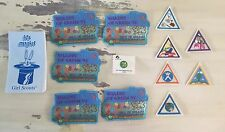 GIRL SCOUT BROWNIE BADGES - Triangle Badges, Patches, Pin, & Notebook  Lot of 13