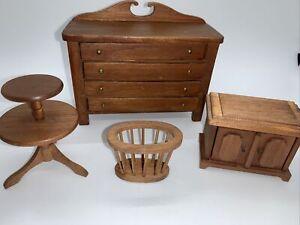 Vintage Shackman Dollhouse Furniture Wood Wooden Dining Dresser Cabinet Lot Set