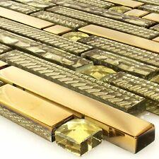 Glasmosaik Fliesen Strukturmix Gold | Wand Fliesenbordüre Küchenspiegel
