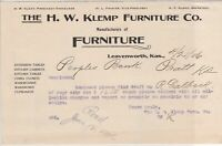 U.S. The H.W. Klemp Furniture Co. Kas. 1906 Manf. of Furniture Invoice Ref 40407