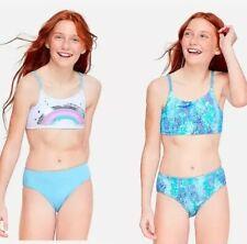 New Justice Girls Reversible Swimsuit Bikini Sz 14 Swim Wear 2 Pc Rainbow Suit