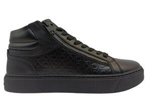 Scarpe da uomo Calvin Klein HM0HM00283 sneakers alte casual comode pelle nere