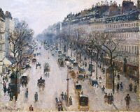 Boulevard Montmartre, Winter Morning Painting by Camille Pissarro Reproduction