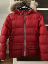 100% Authentic Canada Goose Red Down Coat. Youth sz XL (18) Or Woman Size S