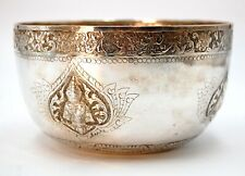 Beautiful Crafted Hand Tooled Sterling Silver Thai Asian Apsara Ceremonial Bowl