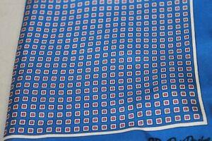 David Donahue Men's Blue Red Geo Pocket Square