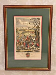 Richard Blome Hunting Engraving Framed Matted Late 1600s Unearthing the Fox 1/4