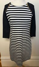 SPORTSCRAFT Navy White Nautical Striped Long Sleeve 'Vera' Ponte Stretch Dress 6