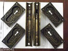 Antique Eastlake Mallory Wheeler & Co. Complete Double Pocket Door Lock Set
