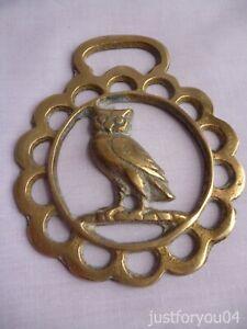 Solid Vintage Horse Brass - Owl in a Half Moon Border Design