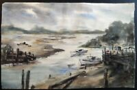ORIGINAL WATERCOLOR PAINTING OF DOCK WITH BOATS ARTIST SIGNED E. RYAN