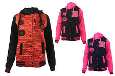 New Womens Girls Ladies Quilted Front Baseball Hooded Jacket Hoodie  Size 8-14