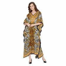 Women Leopard Print Kaftan Yellow Long Maxi Dress Polyester Summer Evening Gown