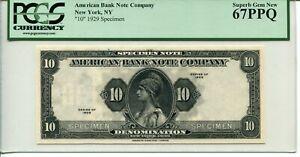 1929 American Bank Note Company Rare Specimen 67 PPQ SUPERB GEM - FLANKING 10'S