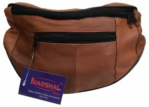 Mens Womens Genuine Leather Fanny Pack Pouch Waist Bag Slim Design Hiking Campin