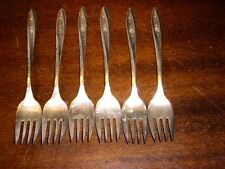 "6 Rogers 1960 ""Lovely Rose"" Silverplate Salad Forks 6"""