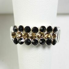 new! BLACK & GOLD CRYSTAL STRETCH RING Vanderbilt University game day jewelry