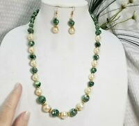 Green AB-Coated Bead and Pearl Bead Necklace and Earring Set