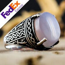 Yemeni Agate Stone 925 Sterling Silver Turkish Handmade Men's Ring