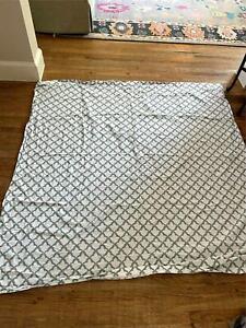 Pottery Barn Bath Shower Curtain Grey Print For Home 100% Organic Cotton