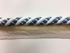 "3/8"" Cord Edge Lip Cord 100% Linen CE-2-L/1-55 (Winter White & Indigo Blue)"