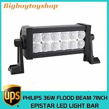 2X 7Inch 36w Double Row Philips Flood Beam LED Light Bar Offroad Ford 4WD Truck