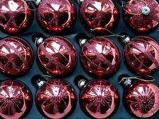 12 LUSSO Gloss Rosso Bruciato CACAO NATALE IN VETRO DECORATO GLITTER PALLINE 80mm