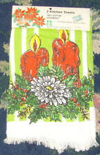 Nos Christmas tea towel set of 2 holiday terry cloth red candles and flowers