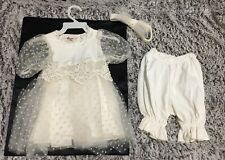 Vintage Storybook Heirlooms Polka Dot White Formal Dress w/ Pants & HeadBow 12MO