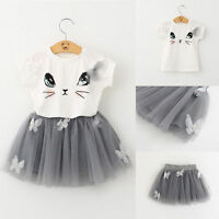 2pcs Toddler Kids Baby Girls Clothes Cat T-shirt Tops+Tutu Skirt Dress Clothes